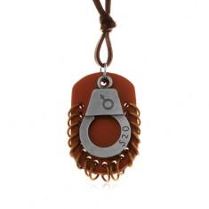 Műbőr nyakék, medál - barna ovális medál karikákkal és bilincs számokkal