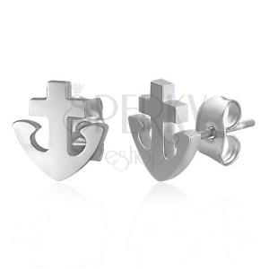 Fülbevaló 316L acélból - horgony és kereszt, ezüst szín, stekkerek