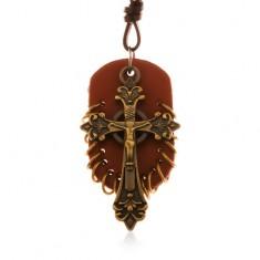 Műbőr nyaklánc, medálok - barna ovális tábla kis karikákkal és kelta kereszttel