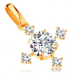 14K sárga arany medál - csillogó, cirkóniás kereszt átlátszó színben