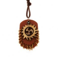 Nyaklánc műbőrből, medálok - törzsi kör és barna ovális tábla karikákkal