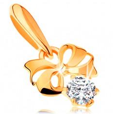 585 arany medál - fénylő masni, kerek cirkóniával