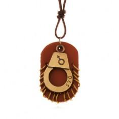 Bőr nyaklánc - állítható, bilincs számmal, barna tábla karikákkal