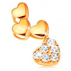 14K sárga arany medál - három fényes és egy cirkóniás szívecske
