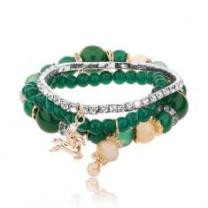 Gyöngyös multikarkötő - három karkötő, smaragdzöld szín, átlátszó cirkóniák