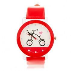Piros-fehér karóra, nagy számlap kerékpárral