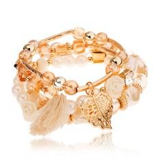 Multikarkötő - arany, világosbarna és fehér, gyöngyházfényes gyöngy, medálok