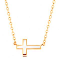 585 sárga arany nyakék - fehér fénymázas kereszt, fénylő nyaklánc