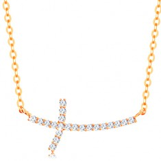 585 arany nyaklánc - csillogó cirkóniás kereszt ovális szemekből álló láncon