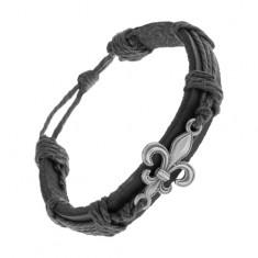 Műbőr karkötő fekete színben, patinás Fleur de Lis szimbólum