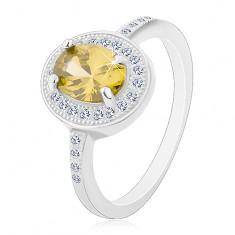 Ródiumozott gyűrű, 925 ezüst, ovális, világoszöld cirkónia, átlátszó cirkóniás szél