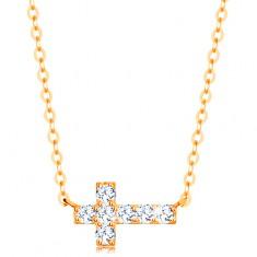 Nyaklánc 14K sárga aranyból - csillogó cirkóniás kereszt, fényes lánc