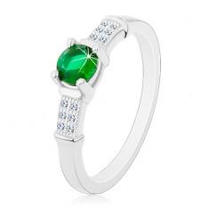 Eljegyzési gyűrű, 925 ezüst, cirkóniás szárak, kerek zöld cirkónia
