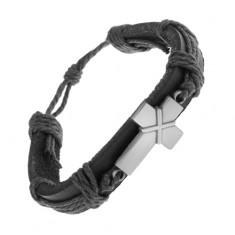 Műbőr karkötő fekete színben, patinás kereszt keresztezett vonalakkal