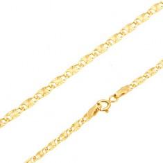 Karkötő 14K sárga aranyból - lapos hosszúkás elemek, sugaras vésetek, 185 mm