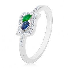 925 ezüst gyűrű, kék és zöld cirkóniás szem átlátszó körvonalban, ródiumozott