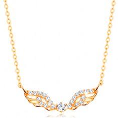 14k sárga arany nyakék - angyalszárny átlátszó cirkóniákkal díszítve