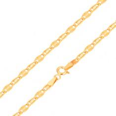 Karkötő 14K sárga aranyból, sima szem és szem sugaras vésetekkel, 190 mm