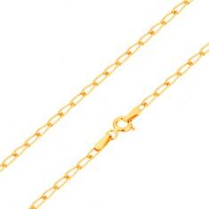 Karkötő 14K sárga aranyból - fényes, lapos, ováis szemek, 190 mm
