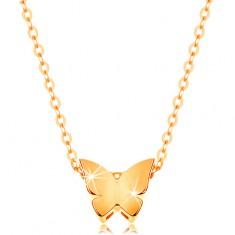 14K arany nyaklánc - fényes lánc, kis lepke sima felülettel