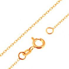 Nyaklánc sárga 18K aranyból - sima, ovális szemek, Rolo minta, 500 mm
