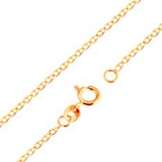 9K arany nyaklánc - kis, lapos, fényes szemek pálcikával elválasztva, 500 mm