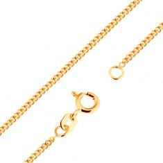 18K arany nyaklánc - sűrűn összekapcsolt lapos, ovális szemek, 500 mm