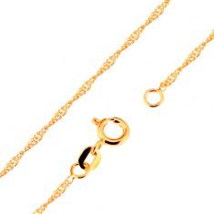 Nyaklánc 9K sárga aranyból - fényes, lapos, ovális szemek, spirál, 500 mm