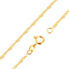 375 arany nyaklánc - spirál fényes, lapos, ovális szemekből, 500 mm