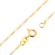 18K arany nyaklánc - Figaro minta, három ovális és egy hosszúkás szem, 500 mm