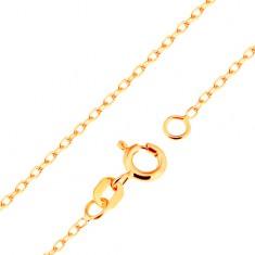 Nyaklánc 18K sárga aranyból - sima, ovális szemek, Rolo minta, 500 mm