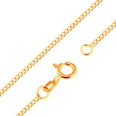 Nyaklánc 9K sárga aranyból - sűrűn összekapcsolt, lapos, ovális szemek, 500 mm