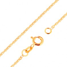 750 arany nyaklánc - csillogó, összekapcsolt ovális szemek, 500 mm