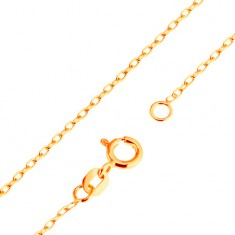 9K arany nyaklánc - sima, ovális szemek, Rolo minta, 500 mm