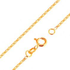 Csillogó nyaklánc sárga 18K aranyból - fényes, összekapcsolt, ovális szemek, 500 mm