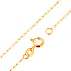 Nyaklánc 9K sárga aranyból - sima, ovális szemek, 500 mm