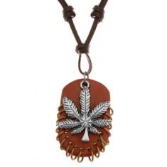 Műbőr nykék, medálokkal - marihuána levél barna ovális bőr karikákkal