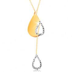 14K arany nyakék - vékony nyaklánc, könnycsepp körvonal