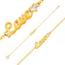 585 arany karkötő - Love felirat és csillogó cirkóniás szív, vékony lánc, 185 mm