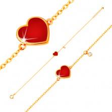585 arany karkötő - piros fénymázas szív és átlátszó cirkónia, vékony lánc, 180 mm