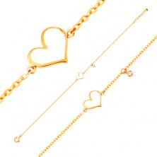 585 arany karkötő - fehér fénymázas szabálytalan szív és átlátszó cirkónia, vékony lánc