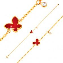 14K sárga arany karktő -piros fénymázas pillangó és átlátszó cirkónia, vékony lánc