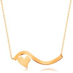 14K sárga arany nyakék - hullám és egy kis szabályos szív, vékony nyaklánc