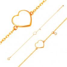 585 arany karkötő - fehér fénymázas szív és átlátszó cirkónia, vékony lánc