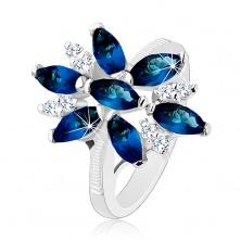 Csillogó gyűrű ezüst színben, kék-átlátszó cirkóniás virág, fényes szárak