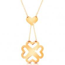Nyaklánc 585 sárga aranyból - vékony lánc, szív és kivágott négylevelű lóhere