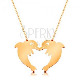 585 arany nyakék - vékony nyaklánc, két delfin szív alakban