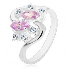 Ezüst színű gyűrű hullámos szárak, halvány lila és átlátszó cirkóniák