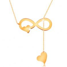 Nyaklánc 585 sárga aranyból - vékony lánc, lapos végtelen szimbólum és szívek
