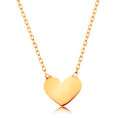 14K arany nyaklánc - csillogó vékony lánc, medál - kis, lapos szív